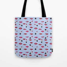 Lips and lispticks pattern in clear background Tote Bag