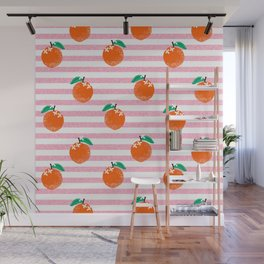 Orange fruit pattern with pink stripes fun pattern for boys or girls room Wall Mural
