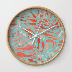 Koi - Coral & Turquoise Wall Clock