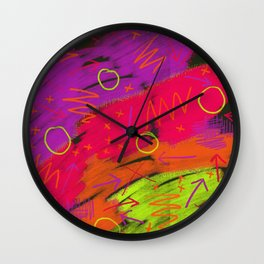 80s infused with pizzazz Wall Clock