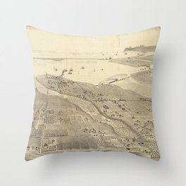 Vintage Pictorial Map of San Deigo CA (1887) Throw Pillow