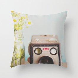 A vintage Kodak camera & a jar full of daisies. Throw Pillow