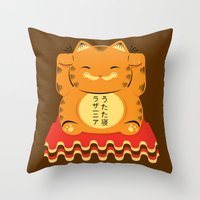 garfield Throw Pillows featuring Lucky Garfield by Ashley Hay