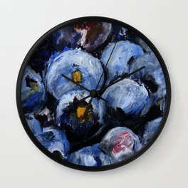 Blueberries - Still Life In Acrylics Original Fine Art Wall Clock