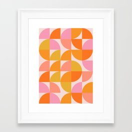 Mid Century Mod Geometry in Pink and Orange Framed Art Print