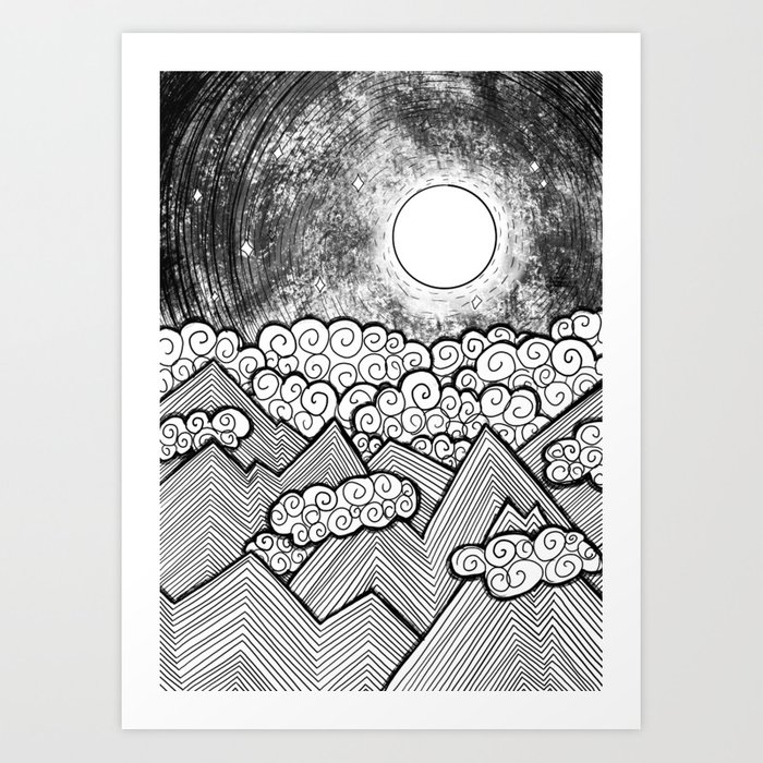 Moon and the Mountains / Full Moon / Black and White Mountains / Abstract Geometric Mountains Art Print