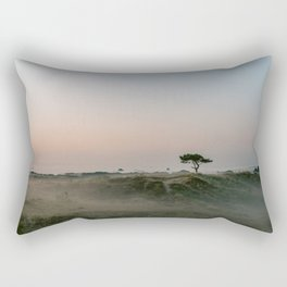 Lonely tree in the foggy Dunes || Travel photography green hills smoky nature landscape calm Rectangular Pillow