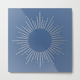 Simply Sunburst in Aegean Blue Metal Print
