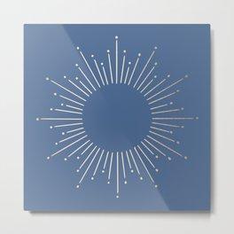 Simply Sunburst in Aegean Blue Metal Print
