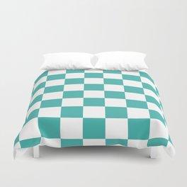 Checkered - White and Verdigris Duvet Cover