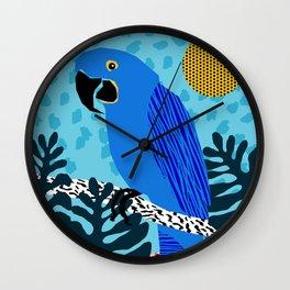 Steaz - memphis throwback tropical retro minimal bird art 1980s 80s style pattern parrot fashion Wall Clock