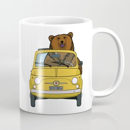 A brown bear riding a yellow convertible Coffee Mug