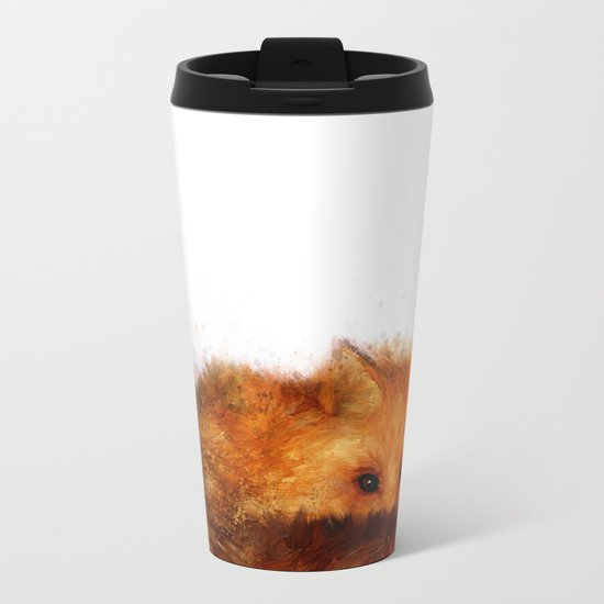 Shy Red Fox Metal Travel Mug