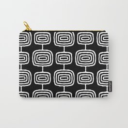 Mid Century Modern Atomic Rings Pattern Black and White Carry-All Pouch