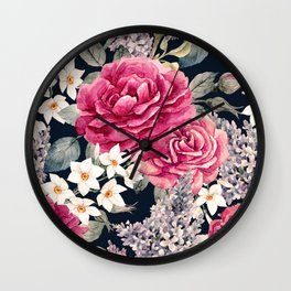 Watercolor Painting Roses White Blossoms Dark Garden Floral Kingdom Wall Clock