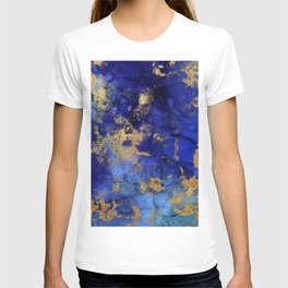 Gold And Blue Indigo Malachite Marble T-shirt