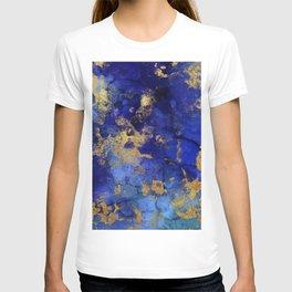 Gold And Blue Indigo Malachite Marble T-shirt