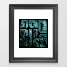 Starry Surfers Framed Art Print