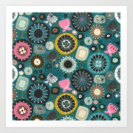 blooms teal Art Print