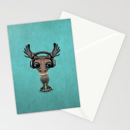 Cute Musical Moose Dj Wearing Headphones Blue Stationery Cards