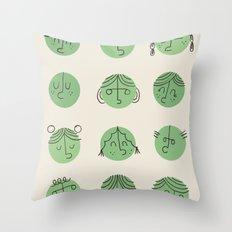 green faces Throw Pillow