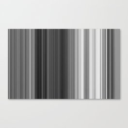 Black White Gray Thin Stripes Canvas Print