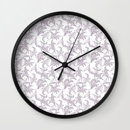 Mauve Vintage-Style Lily-of-the-Valley Pattern Wall Clock