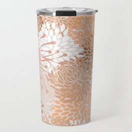 Floral Prints, Blush and Terracotta, Coloured Prints Travel Mug