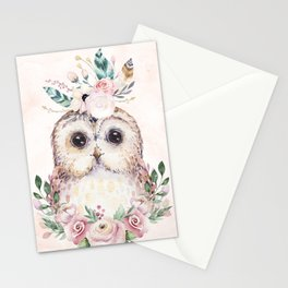 Forest Owl Floral Pink by Nature Magick Stationery Cards
