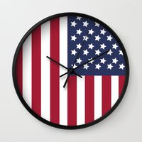 america Wall Clocks featuring America. by Jake  Williams