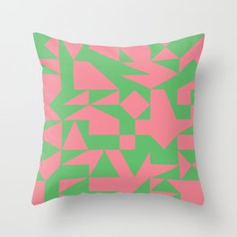 English Square (Pink & Green) Throw Pillow