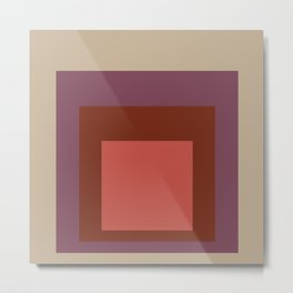 Block Colors - Red Purple Ecru Metal Print