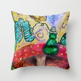 Alice in wonderland Blue hookah caterpillar Throw Pillow
