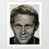 steve mcqueen Art Prints featuring Hollywood - Steve McQueen by Miguel A. Martin