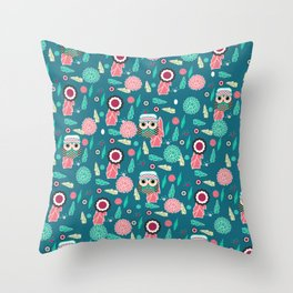 Owls and flowers in blue Throw Pillow