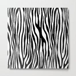 Vegan Zebra Fur Animal Print Design (Black) Metal Print