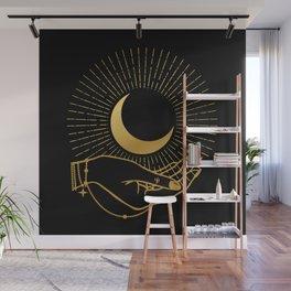 Black & Gold La Lune In Hand Wall Mural