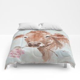 Cow with Rose by Debi Coules Comforters