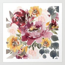 Large floral autumn Art Print