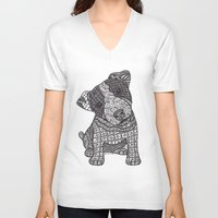 jack russell V-neck T-shirts featuring Jack Russell by DiAnne Ferrer