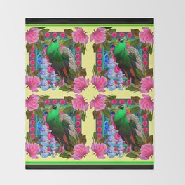 PINK ROSES & GREEN PEACOCK YELLOW GARDEN FLORAL ABSTRACT Throw Blanket