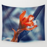 ginger Wall Tapestries featuring Ginger Flower by cinema4design