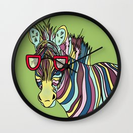 Zebra With Colorful Stripes And Glasses Wildlife Wall Clock