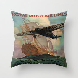 Vintage poster - Royal Dutch Airlines Throw Pillow