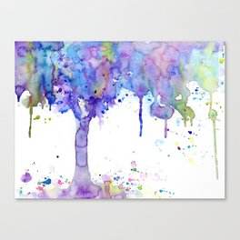 Watercolor Abstract Purple Tree Canvas Print