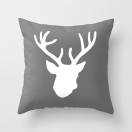 Deer Head: Grey Throw Pillow