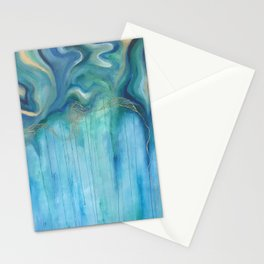Blue and Green Swirls Stationery Cards