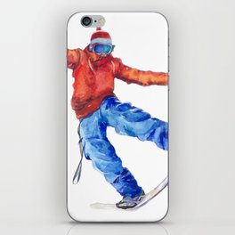 Watercolor snowboarder winter iPhone Skin