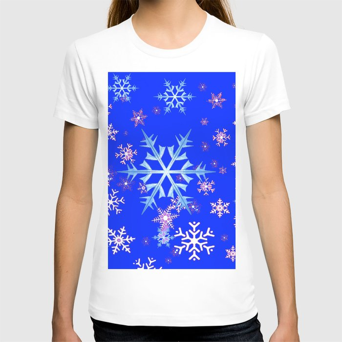 DECORATIVE BLUE  & WHITE SNOWFLAKES PATTERNED ART T-shirt