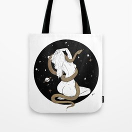 Space Goddess and the Golden Snake Tote Bag